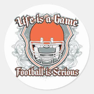 Football Game Orange Round Sticker