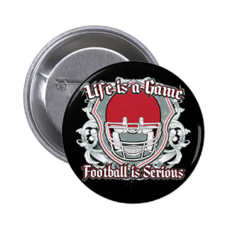 Football Game Red 2 Inch Round Button