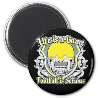 Football Game Yellow 2 Inch Round Magnet