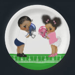 "Football Gender Reveal Baby Shower Paper Plates<br><div class=""desc"">Football baby shower paper plates with adorable African American Ethnic baby boy and baby girl wearing cute pink and blue football outfits on a choose your own color background. These cute football baby shower paper plates are easily customized for your event by simply adding the text of your choice.</div>"