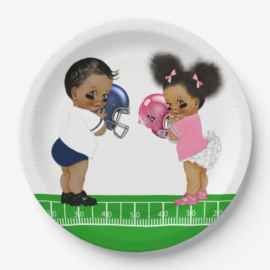 Football Gender Reveal Baby Shower Paper Plates  sc 1 st  Zazzle & Football Gender Reveal Baby Shower Paper Plates | Zazzle.com