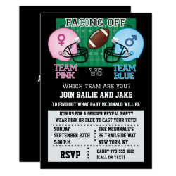 Football Gender Reveal Party Baby Shower Invitation