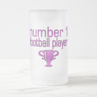 Football Gifts for Her: Number 1 Football Player Frosted Glass Beer Mug