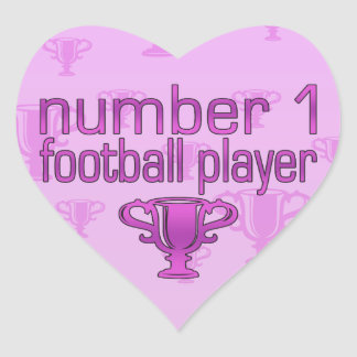 Football Gifts for Her: Number 1 Football Player Heart Sticker