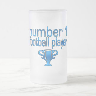Football Gifts for Him: Number 1 Football Player Frosted Glass Beer Mug