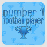 Football Gifts for Him: Number 1 Football Player Square Stickers
