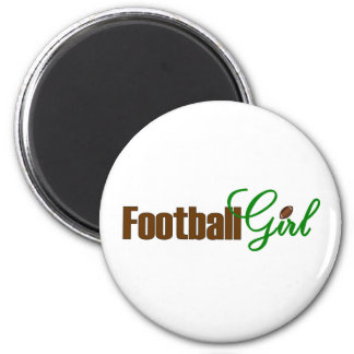 Football Girl 2 Inch Round Magnet