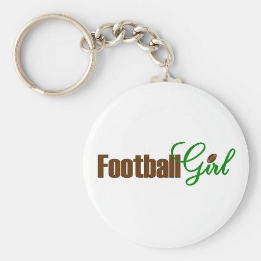 Football Girl Basic Round Button Keychain