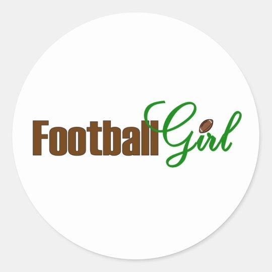 Football Girl Classic Round Sticker