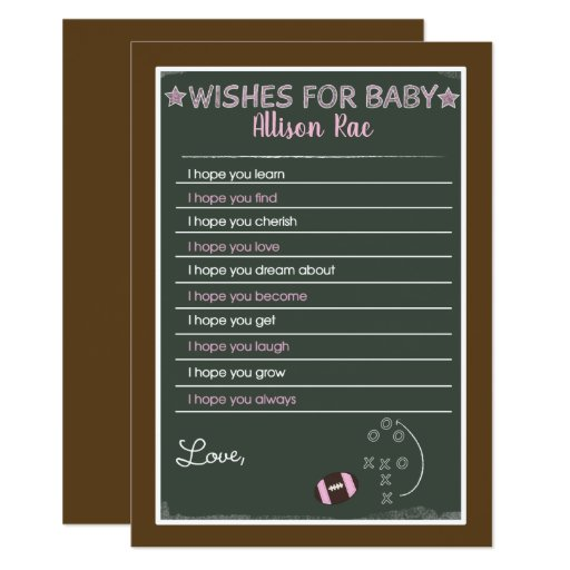 Football Girl Wishes for Baby Printed Cards