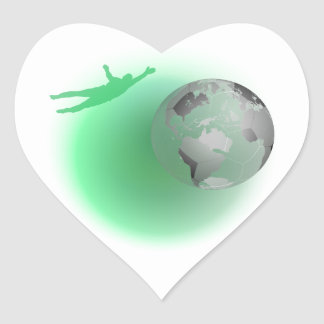 Football Globe Heart Sticker