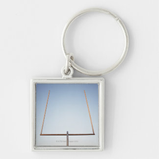 Football goal post Silver-Colored square keychain