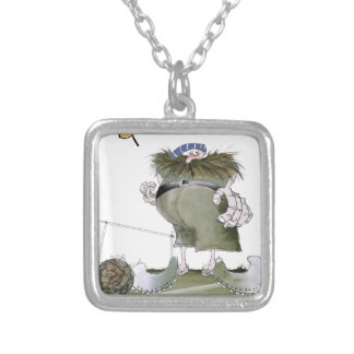football goalkeeper 'blues' silver plated necklace