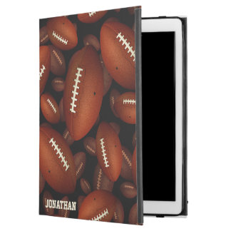 "football graphics pattern on black iPad pro 12.9"" case"