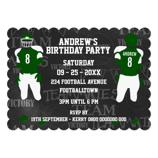 Football Grid Iron Birthday Party Invitation