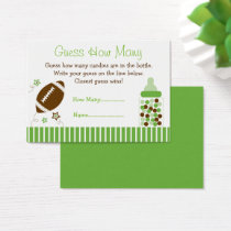 Football Guess How Many Baby Shower Game Business Card