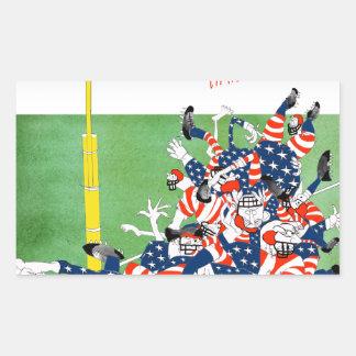 Football hail mary pass, tony fernandes rectangular sticker