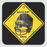 Football: Hard Hat Area Square Sticker