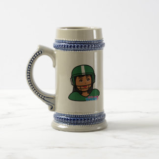 Football Head Dark Beer Stein