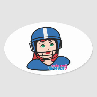 Football Head Light/Red Oval Stickers