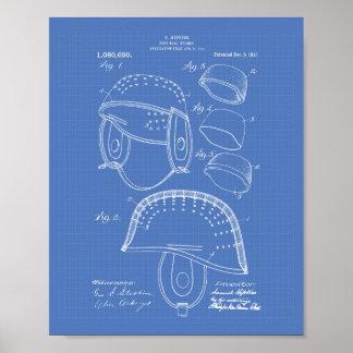 Football Helmet 1913 Patent Art Blueprint Poster