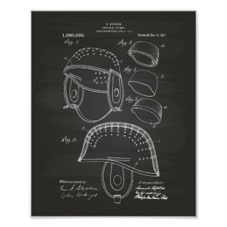 Football Helmet 1913 Patent Art Chalkboard Poster