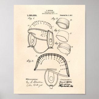 Football Helmet 1913 Patent Art Old Peper Poster