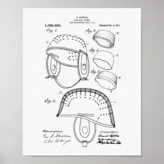 Football Helmet 1913 Patent Art White Paper Poster
