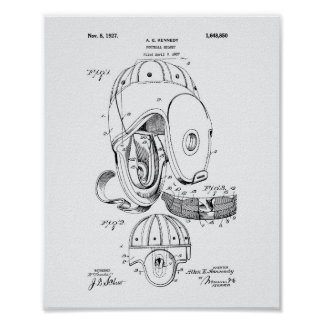 Football helmet 1927 Patent Art  - White Paper Poster