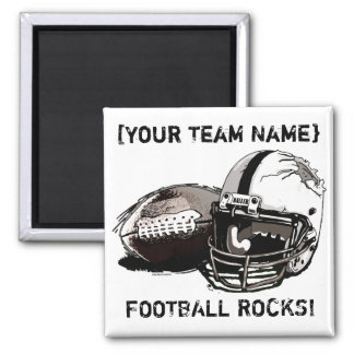 Football Helmet and Pigskin 2 Inch Square Magnet