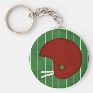 Football helmet basic round button keychain