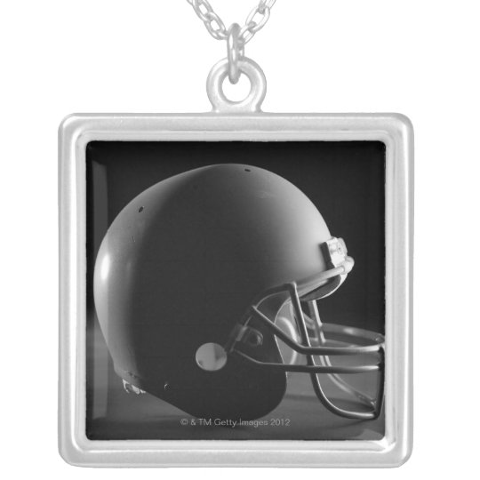 Football helmet silver plated necklace