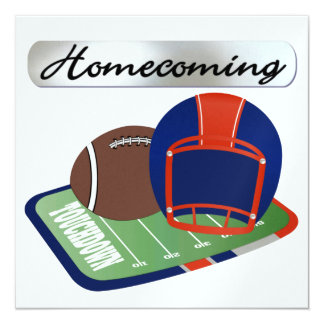 "Football Homecoming by SRF 5.25"" Square Invitation Card"