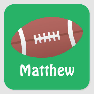 Football illustration green name stickers/tags square sticker