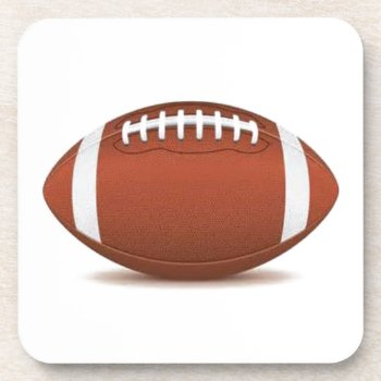 Football Image On Items Beverage Coaster by CREATIVESPORTS at Zazzle