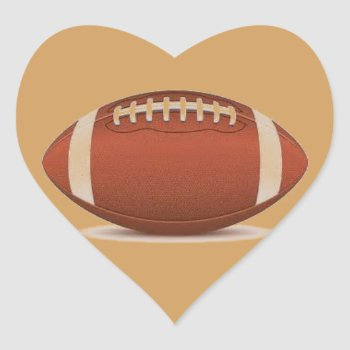 Football Image On Items Heart Sticker by CREATIVESPORTS at Zazzle