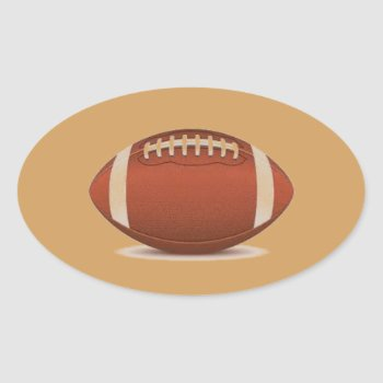 Football Image On Items Oval Sticker by CREATIVESPORTS at Zazzle