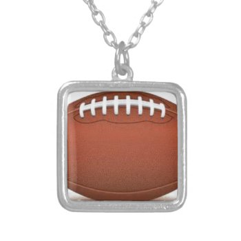 Football Image On Items Square Pendant Necklace by CREATIVESPORTS at Zazzle