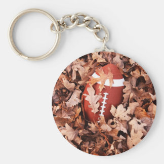 Football in Autumn Leaves Keychain