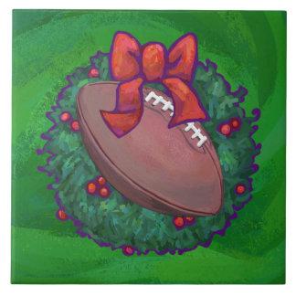 Football in Christmas Wreath on Green Tile