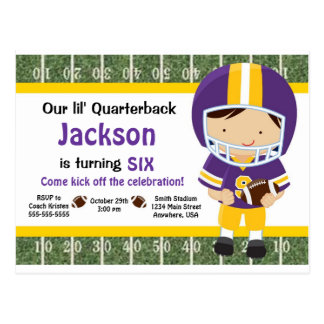Football Invitation - Purple &Yellow Postcard