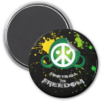 "Football is Freedom magnet (round3""splash grn/blk)"