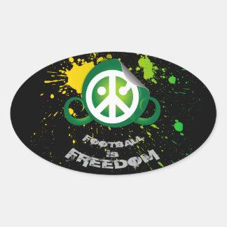 "Football is Freedom sticker(oval4.5x2.7"" splash g)"