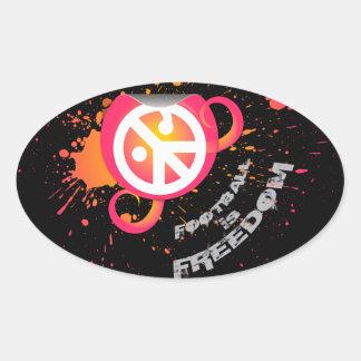 "Football is Freedom sticker(oval4.5x2.7"" splash p)"