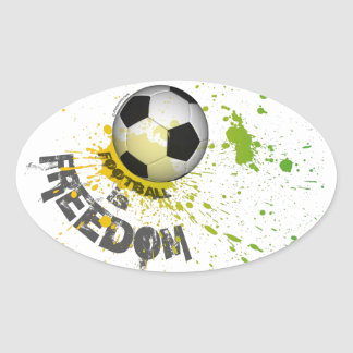 "Football is Freedom stickr(oval4.5x2.7""splashball) Stickers"