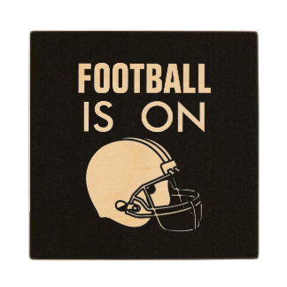 FOOTBALL IS ON MAN CAVE WOODEN COASTER