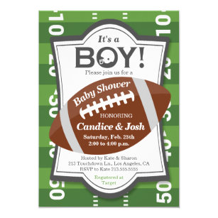 Football Itu0027s A Boy Baby Shower Invitation