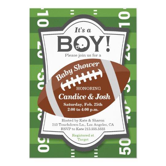 Football Its a Boy Baby Shower Invitation Zazzlecom