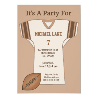 "Football Jersey Birthday  Invitation 5"" X 7"" Invitation Card"