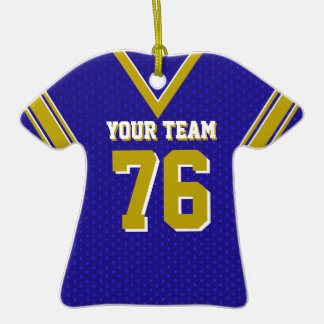 Football Jersey Blue and Gold Double-Sided T-Shirt Ceramic Christmas Ornament